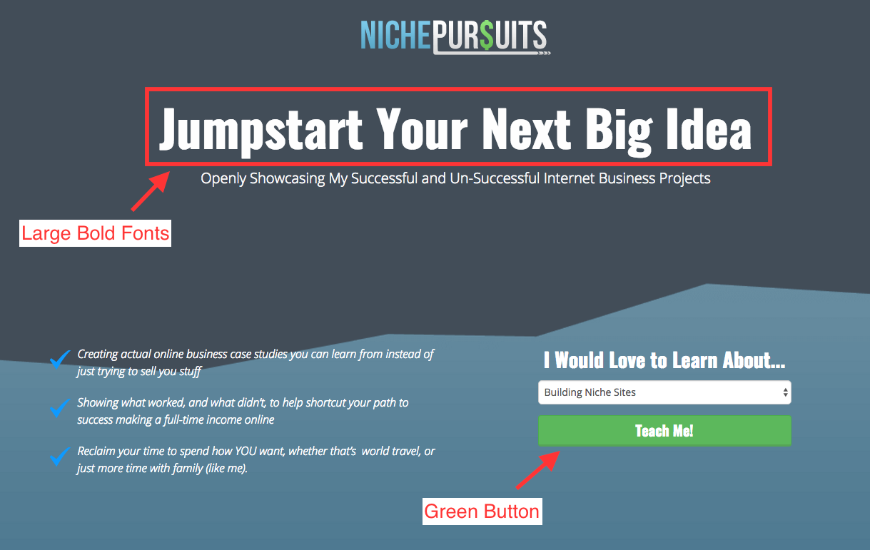 High converting Overlay Optimizer Call-to-action button downloads | Niche Pursuits Call-to-action button example