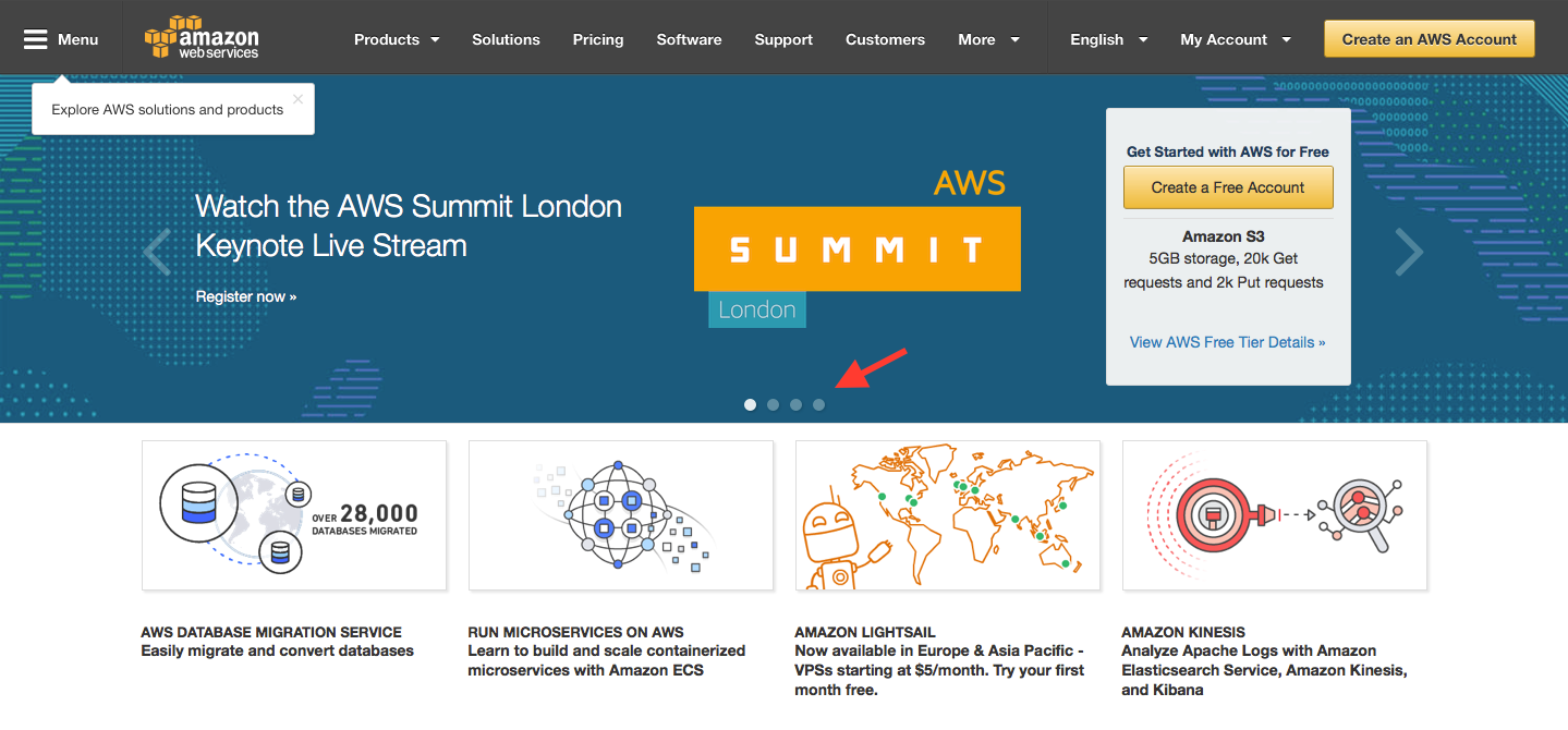 Landing Page Examples from Top Tech Companies | Amazon Web Services Application